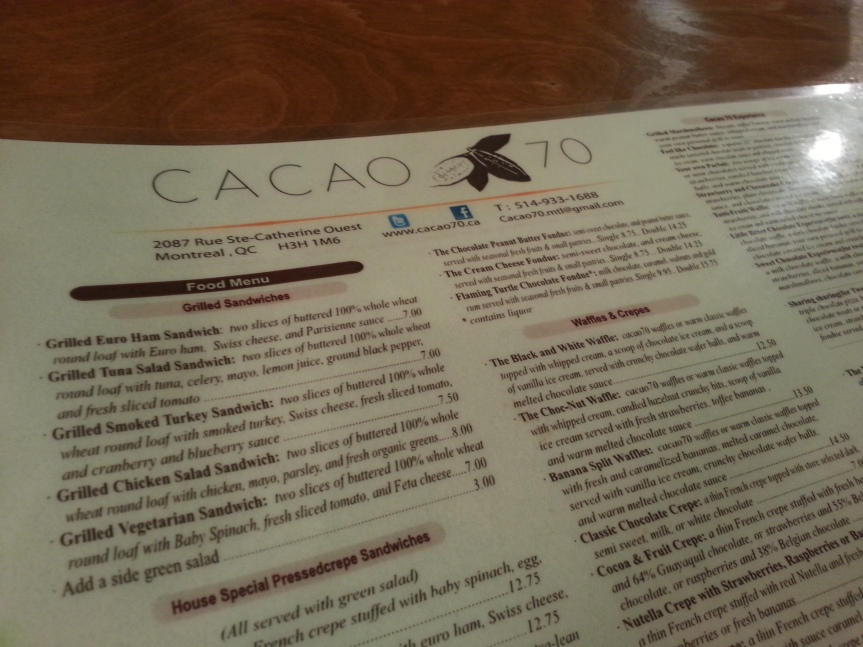 Cacao 70 – Downtown Montreal