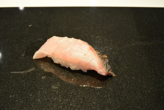 Black Gnome Fish (kuro mutsu) from Tokyo, Japan. Lemon, salted and seared. [Great flavour from searing to bring extra smokiness, balanced out by the salt and lemon]