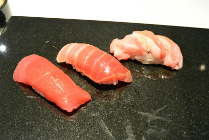 Blue Fin Tuna from North Carolina. Akami, chuutoro, ootoro. [Melt in your mouth]